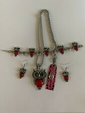 BETSEY JOHNSON RED OWLS SILVER Chain Necklace BRACELET and Earrings Set-BJ59820