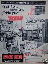 PUBLICITÉ 1959 MD BIBLIOTHÈQUE TOUT BIEN EXAMINÉ J'OPTE POUR MD - ADVERTISING