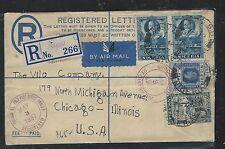 NIGERIA  (P0408B) 1937 RLE 2D UPRATED 3D PR+2D TO  USA