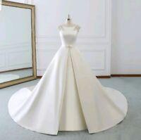 UK White ivory Bridal Satin Pearls Sleeves A Line Wedding Dresses Size 6-20