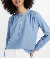 Madewell Womens Size XS Denim Shirred Popover Top Emmie Wash