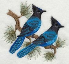 STELLER'S JAY BLUE BIRD SET HAND TOWELS EMBROIDERED Beautiful