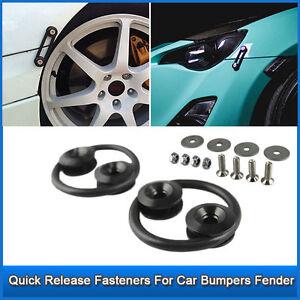 Black CNC Quick Release Fasteners For Car Bumpers Trunk Fender Hatch Lids Kit