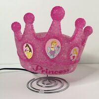 Pink Princess Crown Shaped Table Lamp Night Light with Metal Base