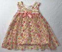 Bonnie Baby Vintage Dress Floral Sz 6-9 Mos Pink White Orange Flowers Spring Sun