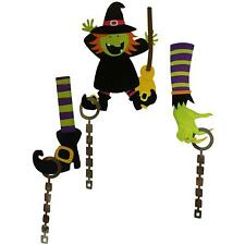 Kids Halloween Hanging Witch & Broom Decoration with Hanging Limbs 3 Piece Set