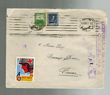 1937 Barcelona Spain Censored  Cover to France Republican Cinderallas red cross
