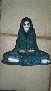 Vintage Gothic Alchemy Evil Grim Reaper Skeleton Blue Glitter Statue Halloween