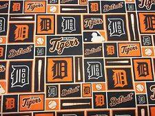 DETROIT TIGERS - MLB - 100% COTTON 1/2 YARD   PIECE BRAND NEW SQUARE  DESIGN #2