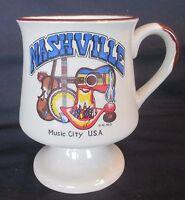 Vintage Nashville Music City USA Souvenir Mug Guitar Violin Banjo
