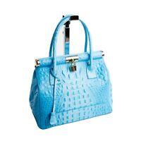 Made in Italy Trage Hand Doc Bag Damen Tasche Blau echt Leder Kroko Optik 351BKR