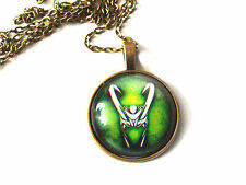 Marvel Loki helmet Thor antique gold glass pendant necklace chain 20 inch