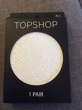 NEW IN PACKAGING LADIES TOPSHOP WHITE FLORAL LACE TIGHTS SIZE MEDIUM/LARGE