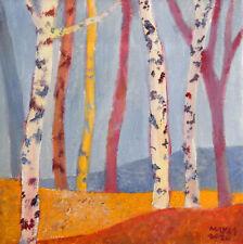 ORIGINAL oil canvas 8 x 8 in. 'Autumn Birch Woodland' by Jeremy Mayes