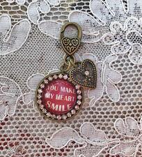 "YOU MAKE MY HEART SMILE Glass Charm Rhinestone Brass 1"" ZIPPER PULL Key Ring"