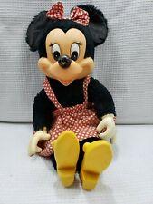 "Vintage DISNEY Minnie Mouse Doll 16"" Tall Vinyl with Plush Body #8407 POLKA DOT"