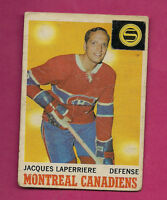1970-71 OPC # 52 CANADIENS JACQUES LAPERRIERE FAIR CARD  (INV#0755)