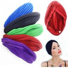 Turban Hair Head Chemo Pleated Bandana Stretchy Wrap Cap Cover Headwrap Women