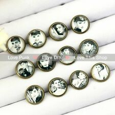12pairs10mm Fashion Earrings Stud Earrings Glass cabochon Earrings Old photos