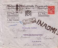 GUERRE 39-45 - INADMIS - RETOUR A L'ENVOYEUR - LETTRE DE PARIS LE 19-1-1941