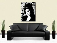 AMY WINEHOUSE PRINT ON CANVAS - Stunning Framed Wall Art - Choose Size & Colour