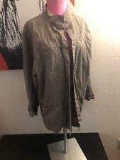 eileen fisher Gray Linen Jacket Coat Lab Pocket Turtlenck Colar Career XL