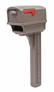 Gentry Large Capacity Double-Walled Plastic All-In-One Mailbox & Post Mocha