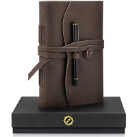 Leather Journal Lined Paper A5 Leather Bound Journal Gift Set Large 8 x 6-inch &