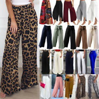 Womens Palazzo Flared Wide Leg Pants High Waist Loose Culottes Baggy Trousers