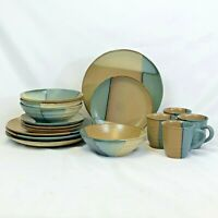 16 PIECE SET SANGO GOLD DUST GREEN DINNERWARE DINNER SALAD LUNCH PLATE MUG BOWL