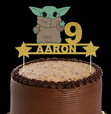 BABY YODA /STAR WARS INSPIRED PERSONALISED BIRTHDAY CAKE TOPPER