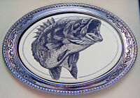 Belt Buckle Barlow Scrimshaw Carved Painted Art Bass Fishing Western 592305