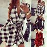 Fashion Women Long Sleeve Grid Shirt Plaid & Check Lady Dress Blouse Bodycon Top
