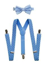 Baby Blue Suspender and Bow Tie Set for Adults Men Women Teenagers (USA Seller)