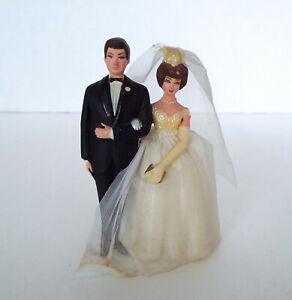"""Vintage Wedding Cake Topper Mini 3.5"""" Plastic Mid Century Modern Bride Groom"""