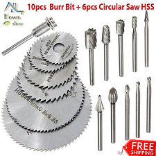 "1/8"" Burr Bit Saw Rotary Cut Carve Rasp Shank Mandrel Rotary Tool Set HSS"