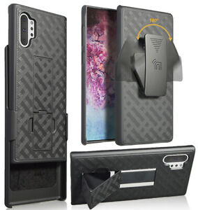 Black Case Kickstand Cover + Belt Clip Holster for Samsung Galaxy Note 10 Plus