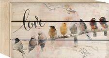 """LOVE Birds Distressed Wood Box Sign, 4.5"""" x 8"""", by P. Graham Dunn"""