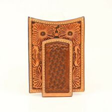 Ariat Tan Floral Embossed Magnetic Money Clip Wallet