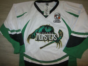 Fresno Monsters Minor League Hockey Jersey Youth L Sewn OT White NEW NWT Rare