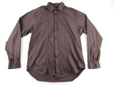 GUESS by MARCIANO Men's Shirt Button Down LS 100% Cotton Brown - SIZE XL