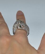DESIGNER SIGNED STERLING SILVER EMERALDS AND MULTIPLE CZ LEOPARD RING