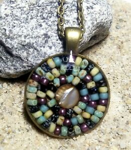 Handmade Picasso Bead Necklace Bronze Mandala Druzy Pendant Glass Unique Gift