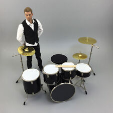 """1/6 Scale Alloy Complete Drum Set Musical Instrument for 12"""" Action Figures"""