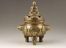 OLD CHINESE DECORATED HANDWORK OLD COPPER CARVED BUDDHA INCENSE BURNER