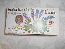 Vintage Crabtree & Evelyn English Lavender Tudor Soap 3 x 9 oz 1978 NOS