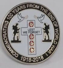 new commemorating the end of WW1 1918- 2018 lapel badge lest we forget 100 years