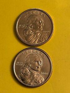 2000 P&D Sacagawea Native American Dollar 2 Coin Set BU Uncirculated $1