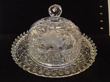 """VINTAGE CUT GLASS ROUND DOME BUTTER DISH OR CHEESE DISH FLORAL PATTERN 8"""" DIA."""