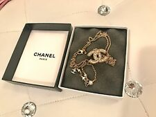 AUTHENTIC CHANEL CLASSIC PEARL CHARM CC GOLD NECKLACE